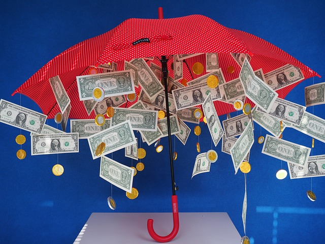 raining money under red umbrella