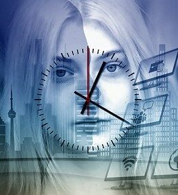 Woman's face covered by clock hands
